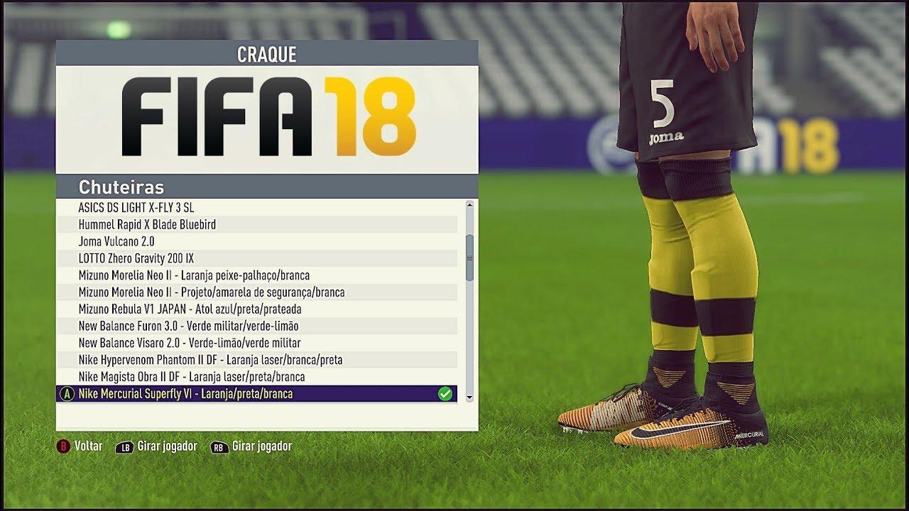 0acdfe328c FIFA 18   TODAS AS CHUTEIRAS   EMBLEMAS E UNIFORMES - ALL FOOTBALL BOOTS