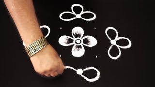 how to draw beautiful flower rangoli designs with 7 dots *easy muggulu * simple kolam *rangavalli