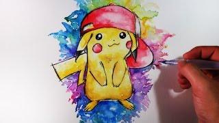 Cómo Dibujar a Pikachu con acuarelas (Multicolor) | How to draw Pikachu | Pokemon