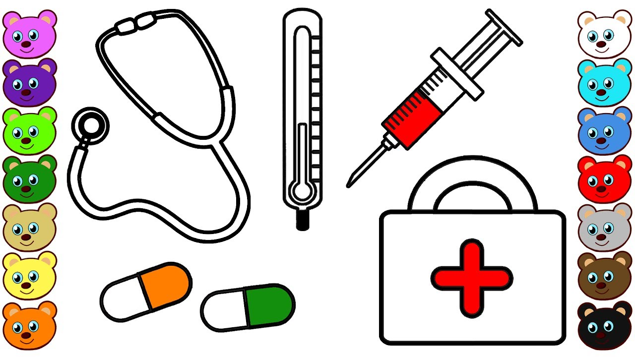 Medical Kit for Doctor | Coloring Pages for Toddlers - YouTube