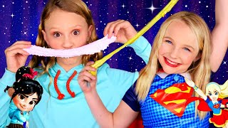 Vanellope Von Schweets and Super Girl Dress Up and Slime! Teaching My Best Friend Makeup!