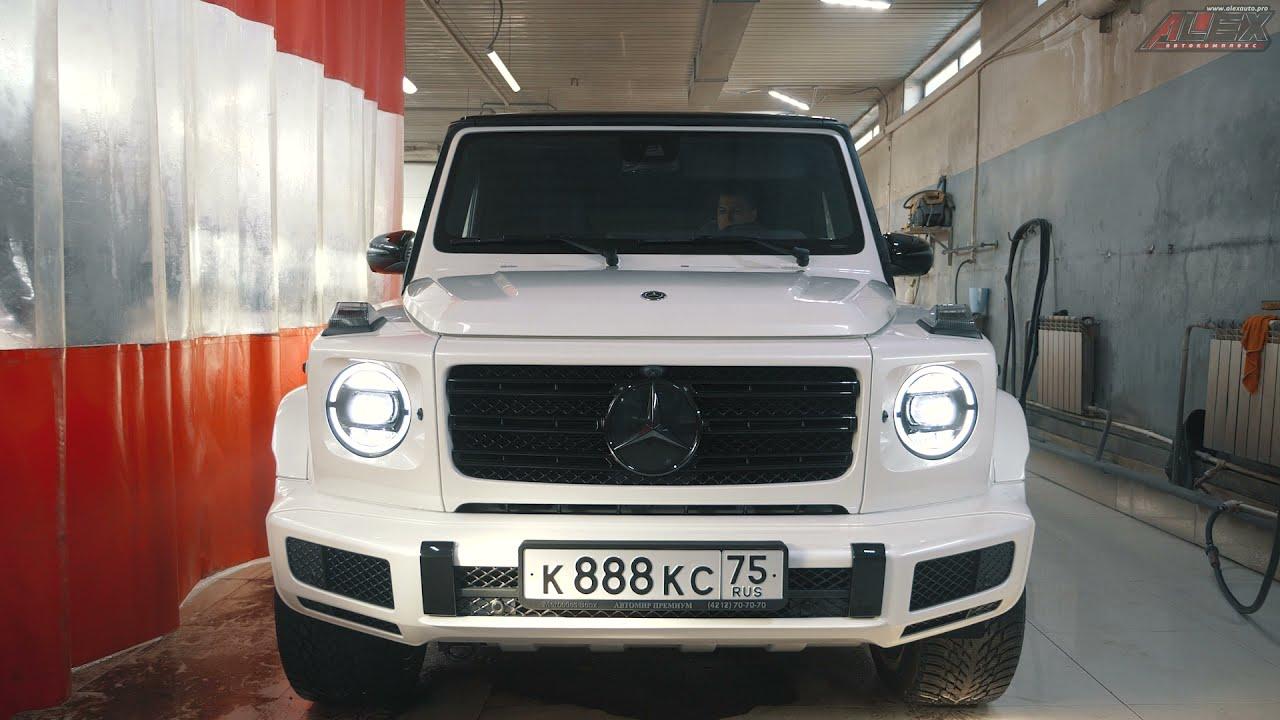 Нас посетил M-Benz G-classe 2020 в шикарном белом цвете. Белый , как оказалось, вполне ему идёт