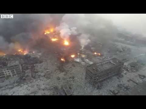 China explosion: Drone footage shows Tianjin blast site