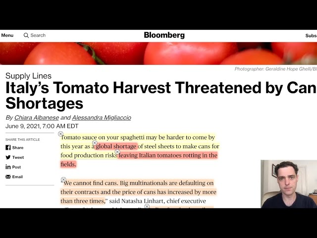 Italy's Tomato Harvest Threatened by Can Shortages - Food Supply Chain Failures