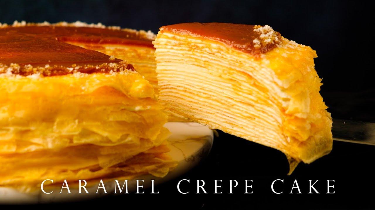 免烤箱 焦糖千層蛋糕 詳細步驟 ┃Caramel crepe cake