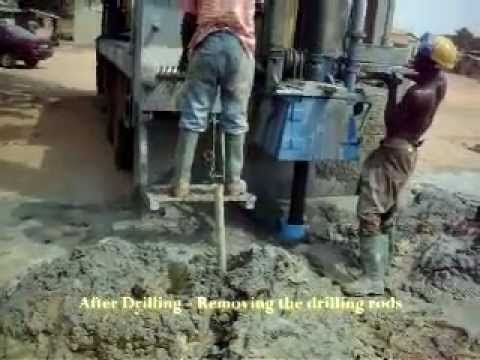 After Drilling - Removing the drilling rods - Enacent Limited Ghana
