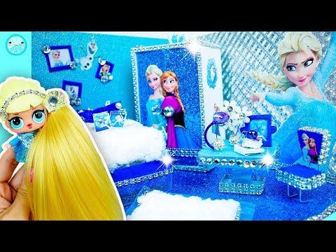 DIY Miniature Dollhouse Bedroom ❄️ Elsa (Frozen) Disney Princess Room Decor