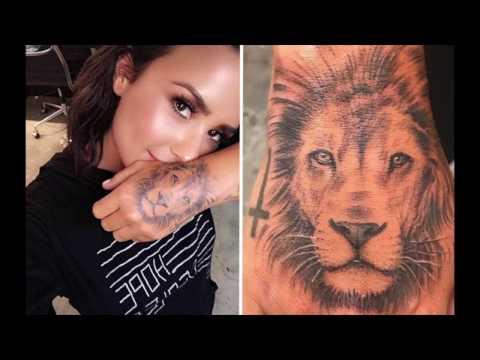dbafc4f97034d Demi Lovato Gets a New Massive Lion Tattoo - YouTube