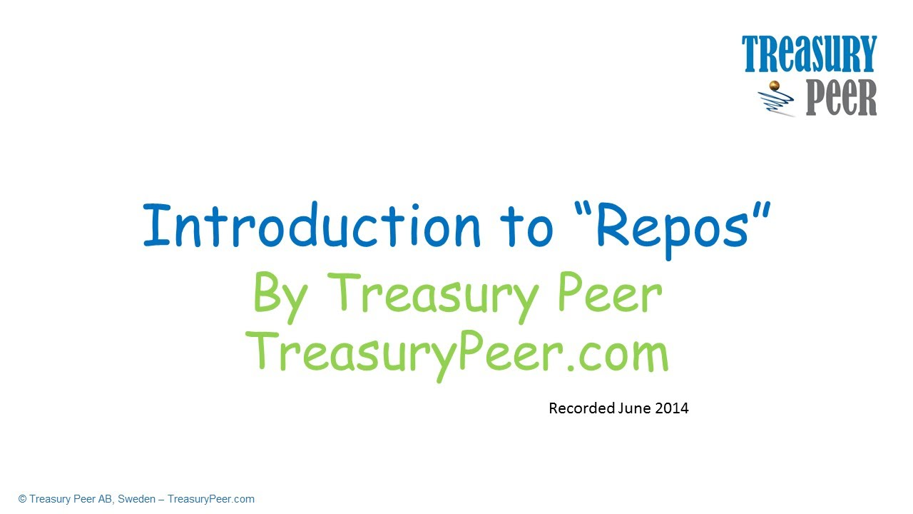 Intro to repos repurchase agreements by treasury peer youtube platinumwayz
