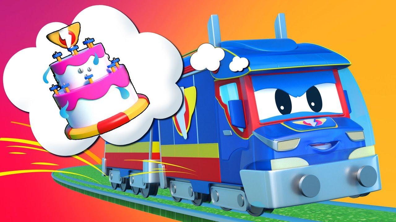 TREM salva a festa de aniversário da AMBULÂNCIA - Cidade do Carro - Desenhos animados infantis