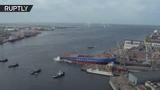 Беспилотник заснял спуск на воду ледокола «Сибирь» в Санкт-Петербурге