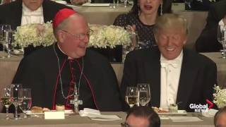 Charity dinner M.C. jokingly reminds Donald Trump that he