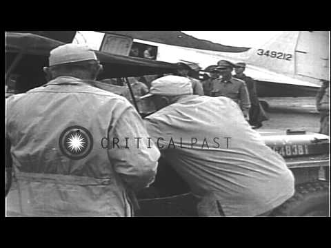 Singer and actor, Al Jolson arrives at Pusan Air Base to entertain United States ...HD Stock Footage