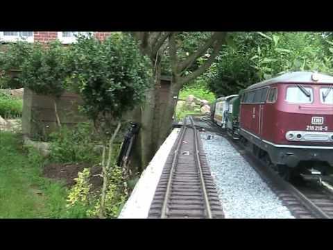 """LGB Gartenbahn """"Verfolgungsjagd"""" BR 218 und VT 98 von Piko. Garden Railway G-Scale Trains"""