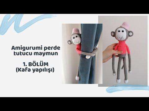 (Amigurumi ) Örgü Oyuncak Perde Tutucu Yapımı 3 (Crochet Amigurumi Curtain Holder Monkey 3)