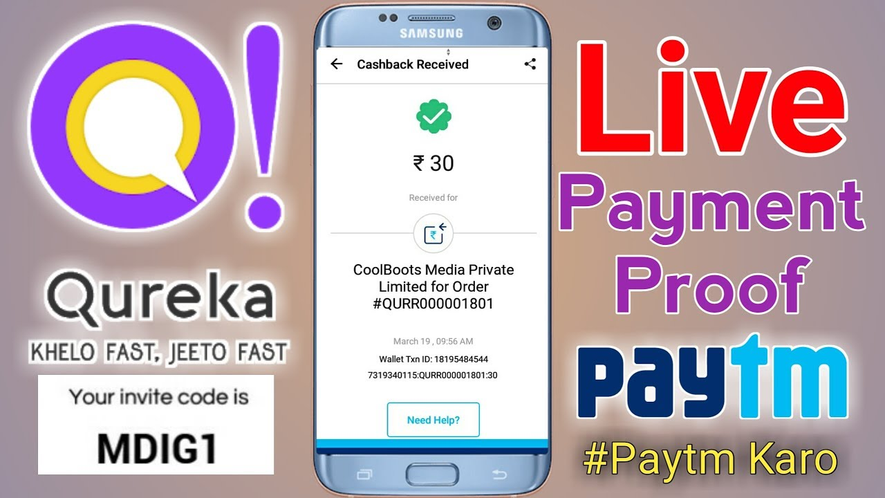 Qureka Paytm Payment Proof Earn Up To ₹20,000