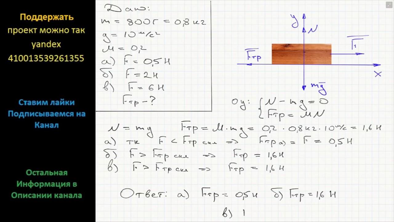 Решение задач с коэффициентом трения по физике решение задач в плоской системе произвольных сил