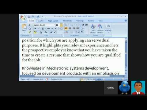 Job Search - CV (Resume)
