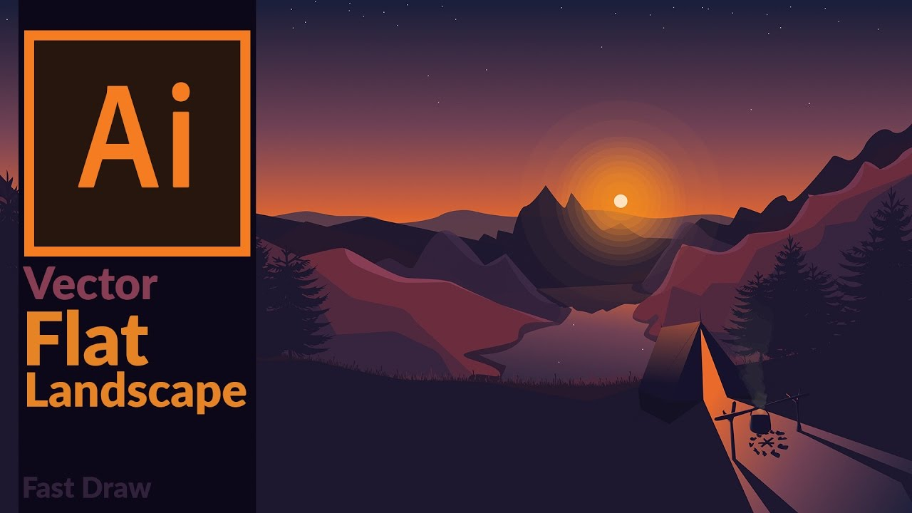 Landscape at dusk flat design artwork in adobe How to landscape
