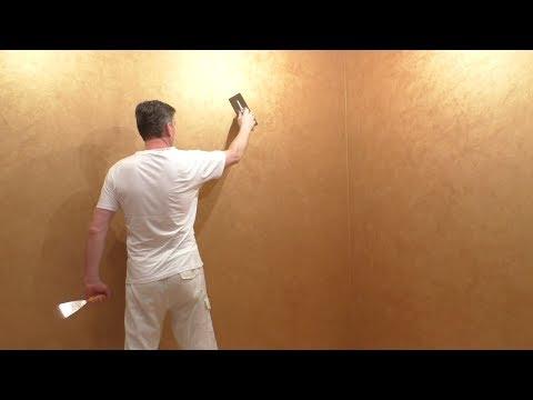 Вид стен на МИЛЛИОН! Отделка стен в комнате декоративным покрытием под цвет золота. Мастер-класс