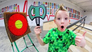 FATHER SON AXE THROWING TRICK SHOTS! YouTube Videos