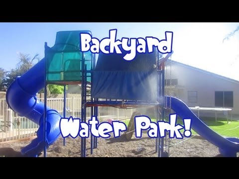 diy backyard water park water slides youtube