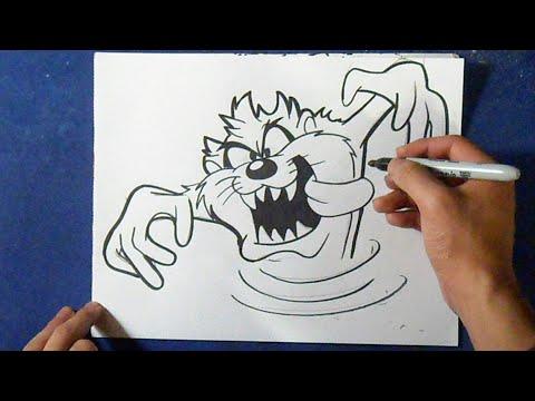 Como desenhar o Diabo da Tasmania (Taz)  - Looney Tunes