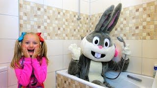 Polina playing with Giant Bunny Pretend play Video for kids