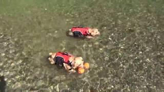 川の様子は少し変わっていました。 夏休みに入ったから子供沢山!