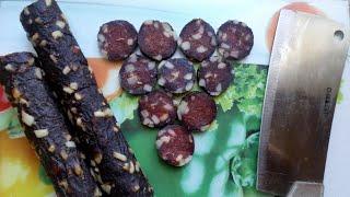 Сыровяленая колбаса с копчёным вкусом (Без коптилки и без кишок)