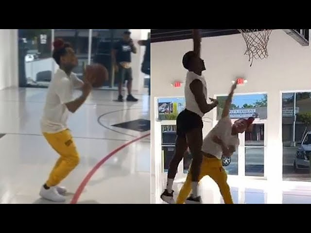 6ix9ine-shows-off-his-basketball-skills-vs-victor-oladipo-in-a-3-point-contest