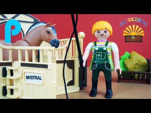 Fjord Pferd mit braun gelber Pferdebox 5517 - Playmobil Country Film Bauernhof Ausritt auspacken