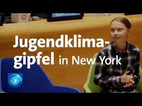 Greta Thunberg spricht beim Jugendklimagipfel in New York