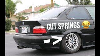 Cutting Springs on our New E36 Project Budget Drift Car!!!