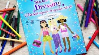 Đồ chơi dán hình trang điểm váy đầm búp bê -Tập 3 kì nghỉ vui vẻ -Sticker Dolly Dressing (Chim Xinh)