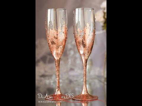 Bronze Wedding Personalized Champagne Gles Rose Gold Engraved Toasting Flutes By Diamoreds