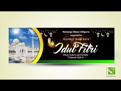 Cara Membuat Banner Idul Fitri Di Coreldraw X7 Youtube