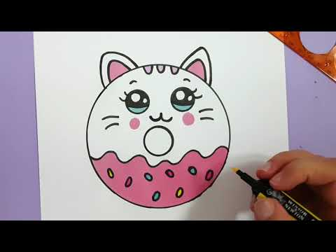 HOW TO DRAW A CUTE KITTEN DONUT SUPER EASY