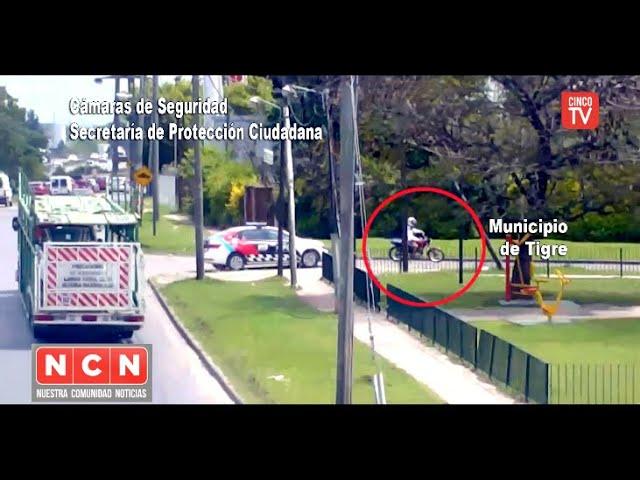"""CINCO TV - Motociclista quiso escapar haciendo """"superman"""" pero fue detenido"""