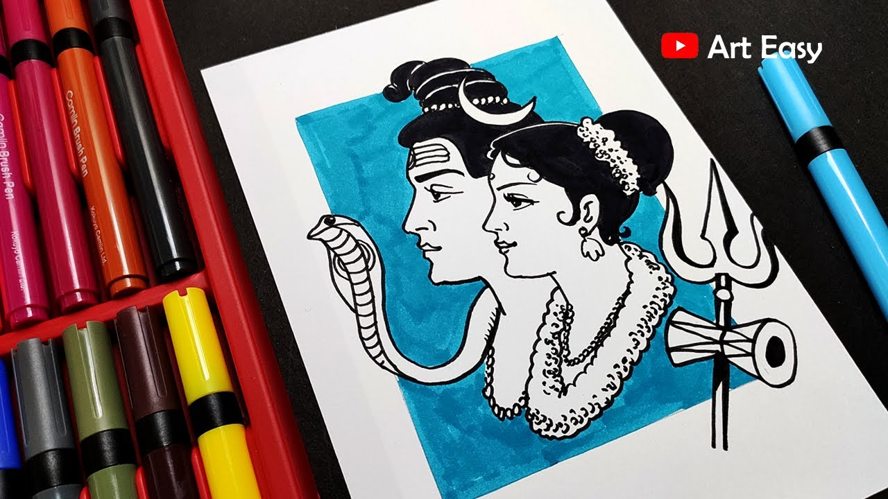 Lord Shiva And Parvati Drawing Easy Step By Step Drawing
