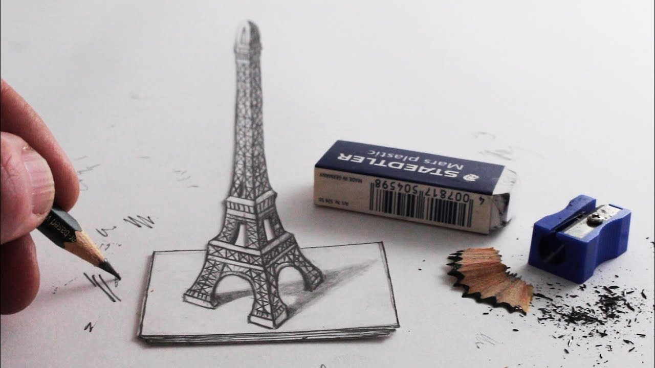 How to Draw The Eiffel Tower 3D Trick Art - YouTube