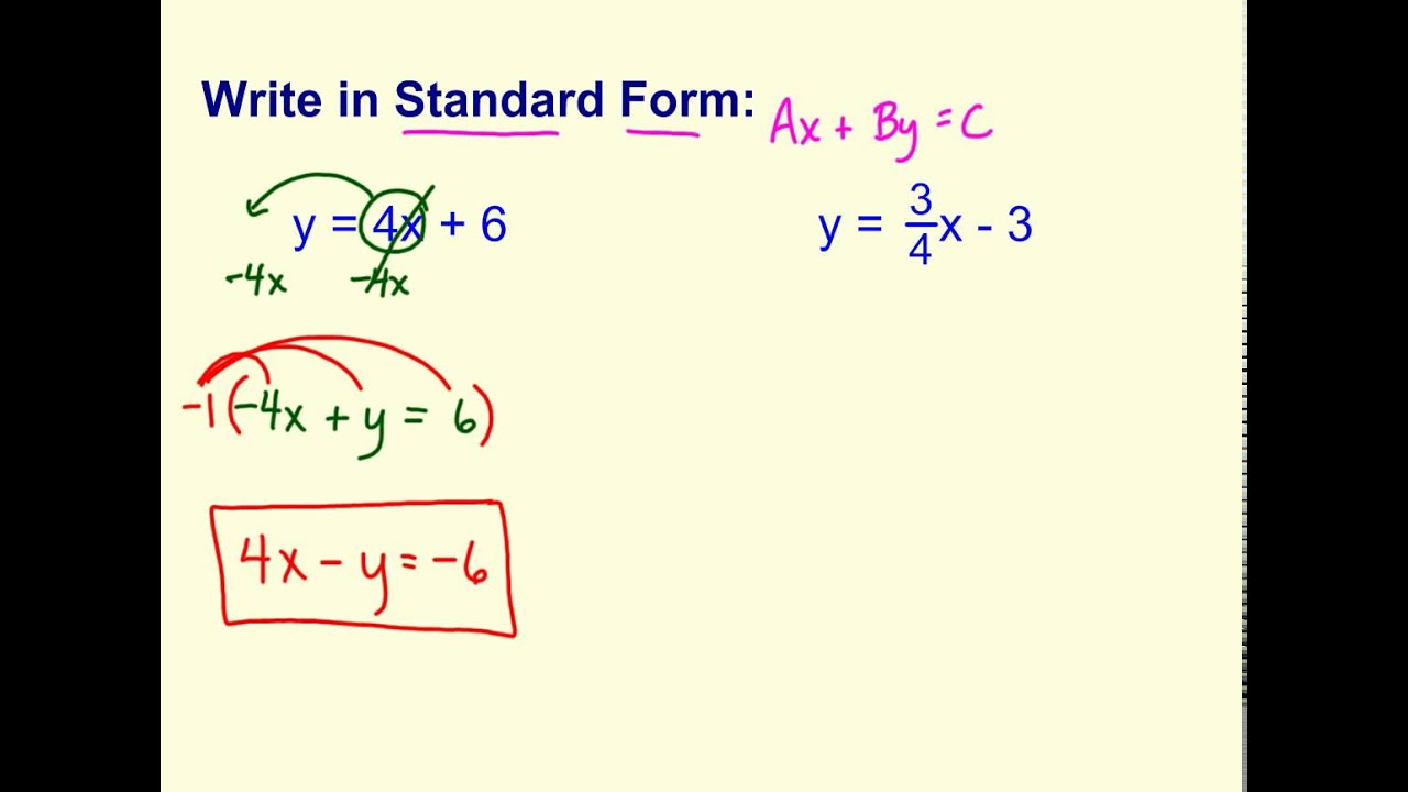 Write standard form when given equation youtube write standard form when given equation falaconquin