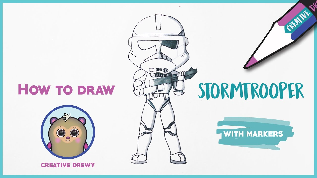 How to draw a cute Star Wars Stormtrooper coloring with markers - Drawing tutorial
