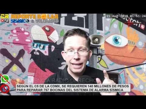 (((ALERTA SÍSMICA GLOBAL)))   RIESGO ELEVADO   AGO 11 2018  REPORTE SOLAR SÍSMICO Y VOLCÁNICO