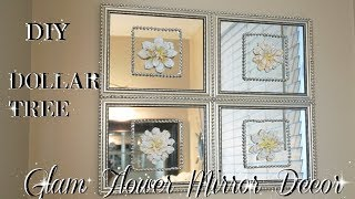 DIY DOLLAR TREE MIRROR DECOR WITH FLOWERS | QUICK EASY & INEXPENSIVE HOME DECOR IDEA | PETALISBLESS