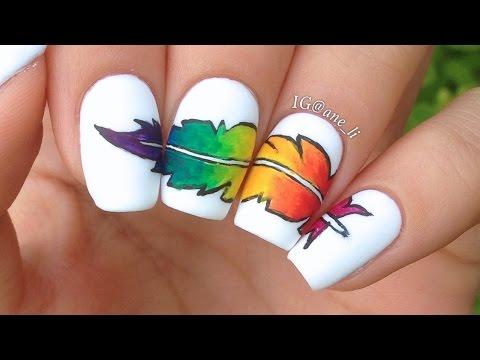 Rainbow Feather Nail Art Youtube
