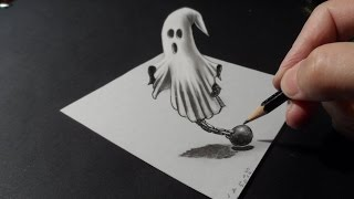 👻Help, Ghost on the table! - How to Draw 3D Ghost - 3D Trick Art Drawing - VamosART