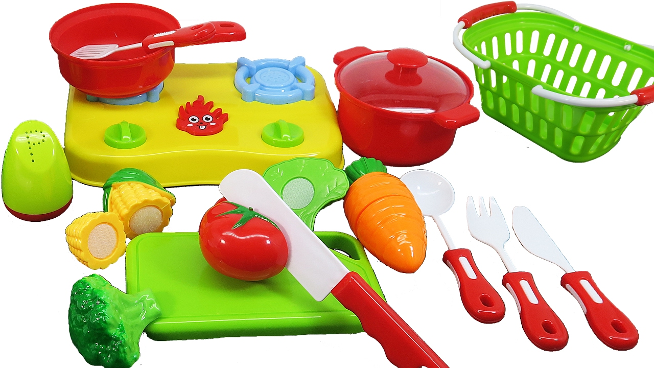 Toy Kitchen Cooking Stove For Children Cutting Fruits