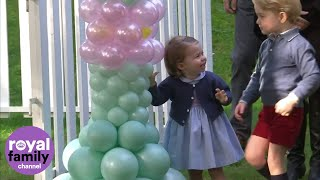 Video Prince George and Princess Charlotte play with balloons and pet animals download MP3, 3GP, MP4, WEBM, AVI, FLV Juni 2018