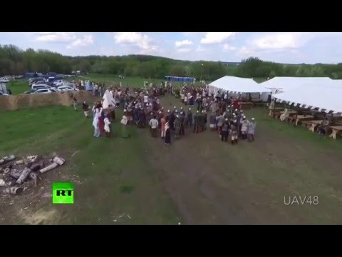 Clash of epochs: Drone speared at history festival in central Russia